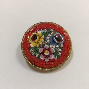 Vintage millifiori glass bead brooch colorful pin